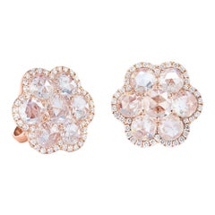 64Facets 1 Carat Flower Shaped Rose Cut Diamond Stud Earrings in 18 Karat Gold