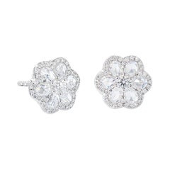 64Facets 1 Carat Flower Shaped Rose Cut Diamond Stud Earrings in White Gold