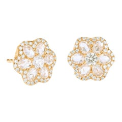 64Facets 1 Carat Flower Shaped Rose Cut Diamond Stud Earrings in Yellow Gold