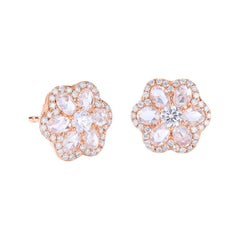 64Facets 1 Carat Rose Cut Diamond Flower Stud Earrings in 18 Karat Gold
