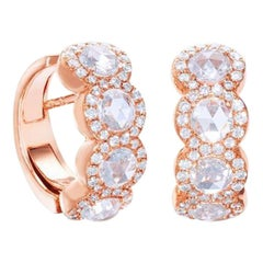 64Facets 1.10 Carat Rose Cut Diamond Huggie Earrings in 18 Karat Rose Gold