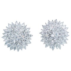64 Facets 11.77 Carat Rose Cut Diamond Spiked Stud Earrings in 18 Karat Gold
