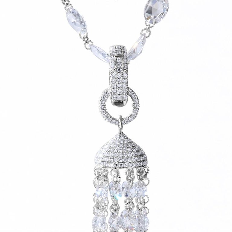 Women's or Men's 64 Facets 14 Carat Roe Cut Diamond Tassel Pendant for Necklaces in White Gold For Sale