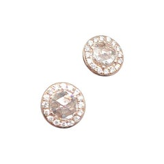 64Facets Round Rose Cut Diamond Stud Earrings in 18 Karat Rose Gold