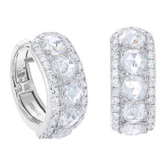 64Facets 1.60 Carat Rose Cut Diamond Huggie Earrings in 18 Karat White Gold