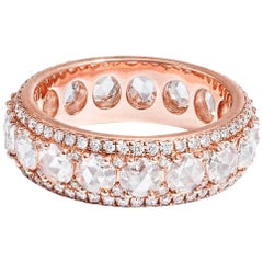 64Facets 2.50 Carat Rose Cut Diamond Ring in 18 Karat Rose Gold