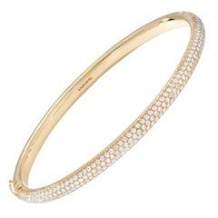 64Facets 2.75 Carat Pave Diamond Bangle Bracelet Set in 18 Karat Yellow Gold