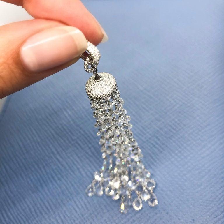 64Facets 28 Carat Rose Cut Diamond Tassel Chandelier Earrings in White Gold For Sale 6
