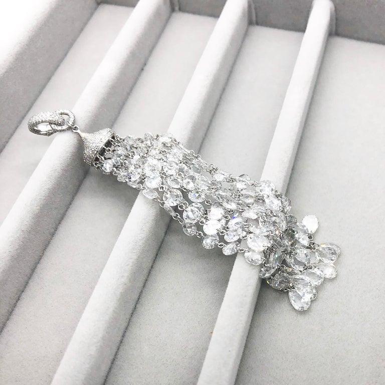 64Facets 28 Carat Rose Cut Diamond Tassel Chandelier Earrings in White Gold For Sale 7