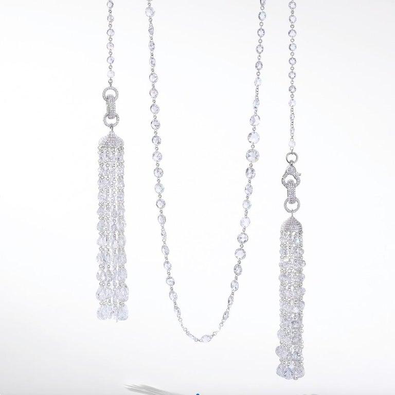 64Facets 28 Carat Rose Cut Diamond Tassel Chandelier Earrings in White Gold For Sale 8