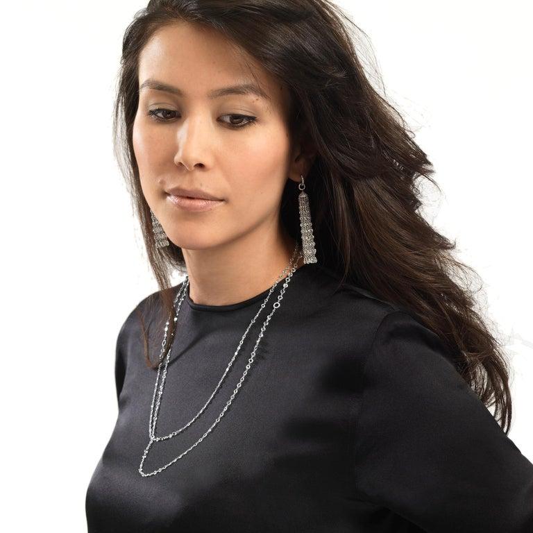 64Facets 28 Carat Rose Cut Diamond Tassel Chandelier Earrings in White Gold For Sale 11