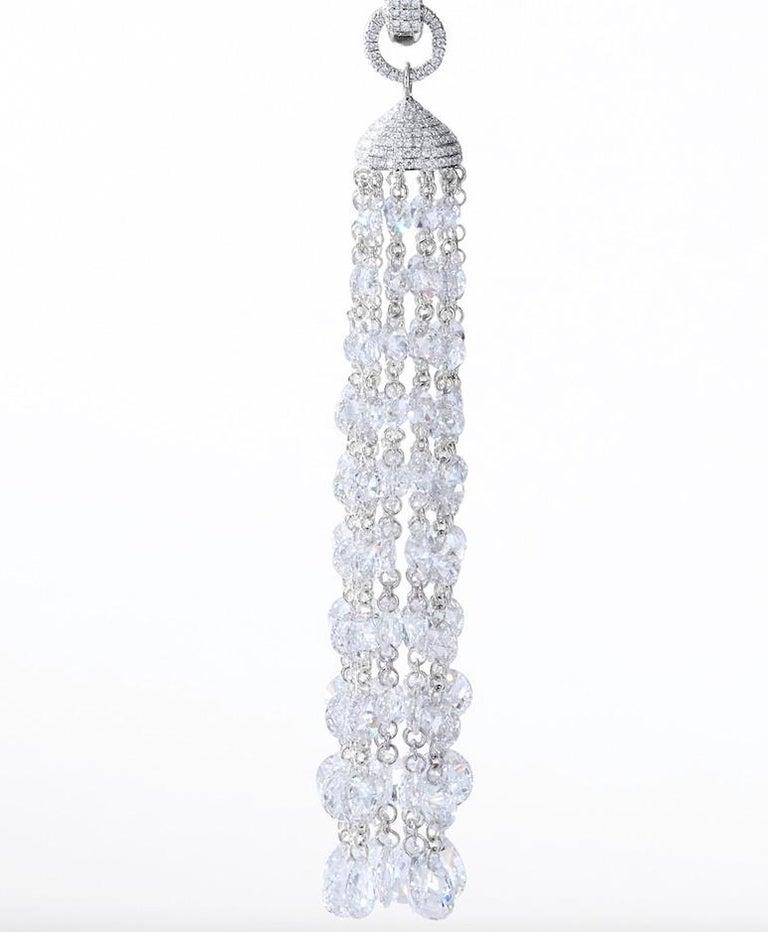 Women's or Men's 64Facets 28 Carat Rose Cut Diamond Tassel Chandelier Earrings in White Gold For Sale