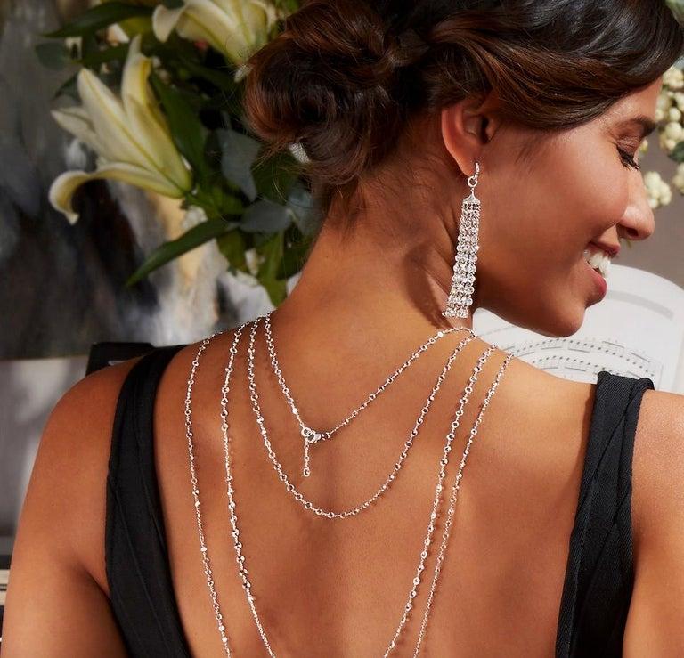 64Facets 28 Carat Rose Cut Diamond Tassel Chandelier Earrings in White Gold For Sale 2