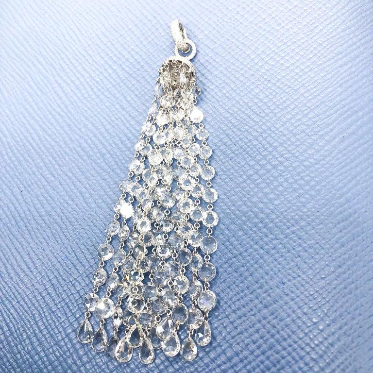 64Facets 28 Carat Rose Cut Diamond Tassel Chandelier Earrings in White Gold For Sale 4