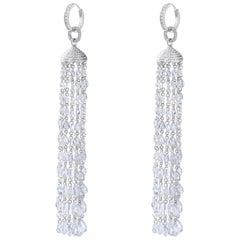 64Facets 28 Carat Rose Cut Diamond Tassel Chandelier Earrings in White Gold