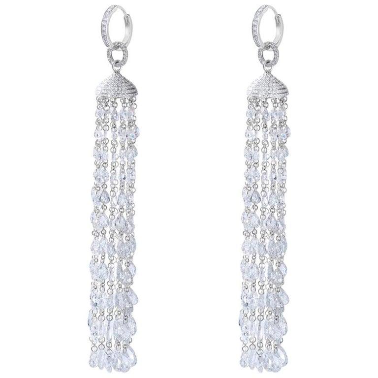 64Facets 28 Carat Rose Cut Diamond Tassel Chandelier Earrings in White Gold For Sale