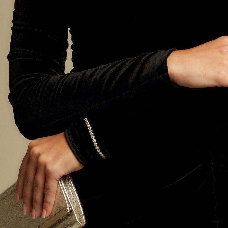 64Facets 2.90 Carat Tennis Bracelet Rose Cut Diamonds in 18 Karat White Gold For Sale 10
