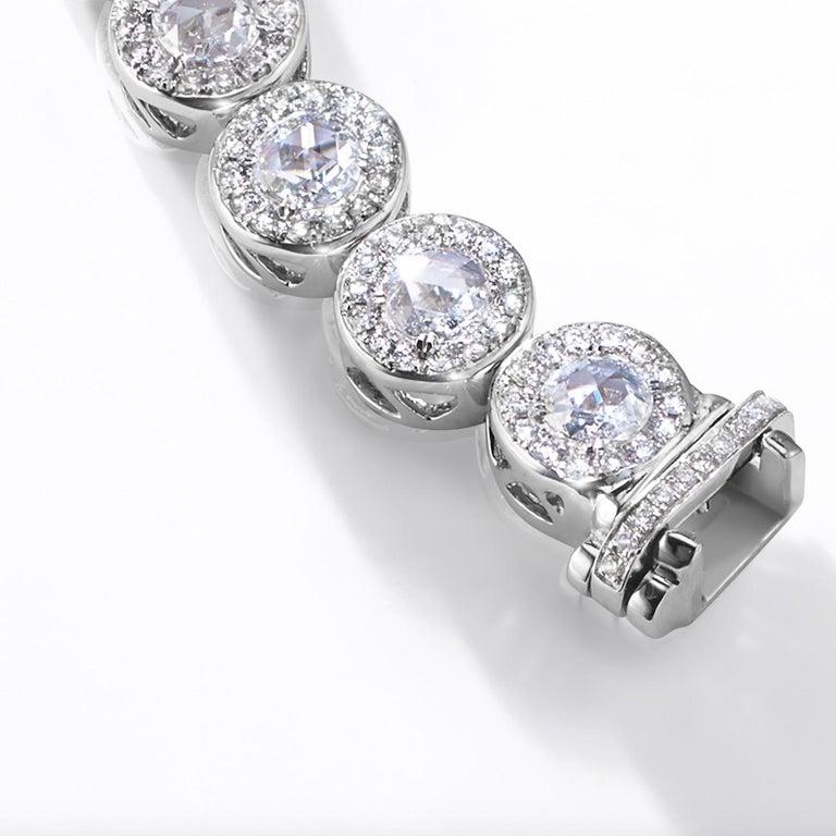 64Facets 2.90 Carat Tennis Bracelet Rose Cut Diamonds in 18 Karat White Gold For Sale 5