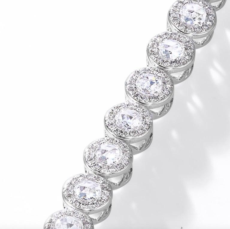 64Facets 2.90 Carat Tennis Bracelet Rose Cut Diamonds in 18 Karat White Gold For Sale 3