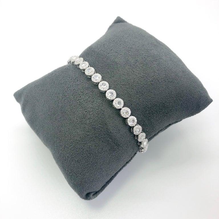 64Facets 2.90 Carat Tennis Bracelet Rose Cut Diamonds in 18 Karat White Gold For Sale 15