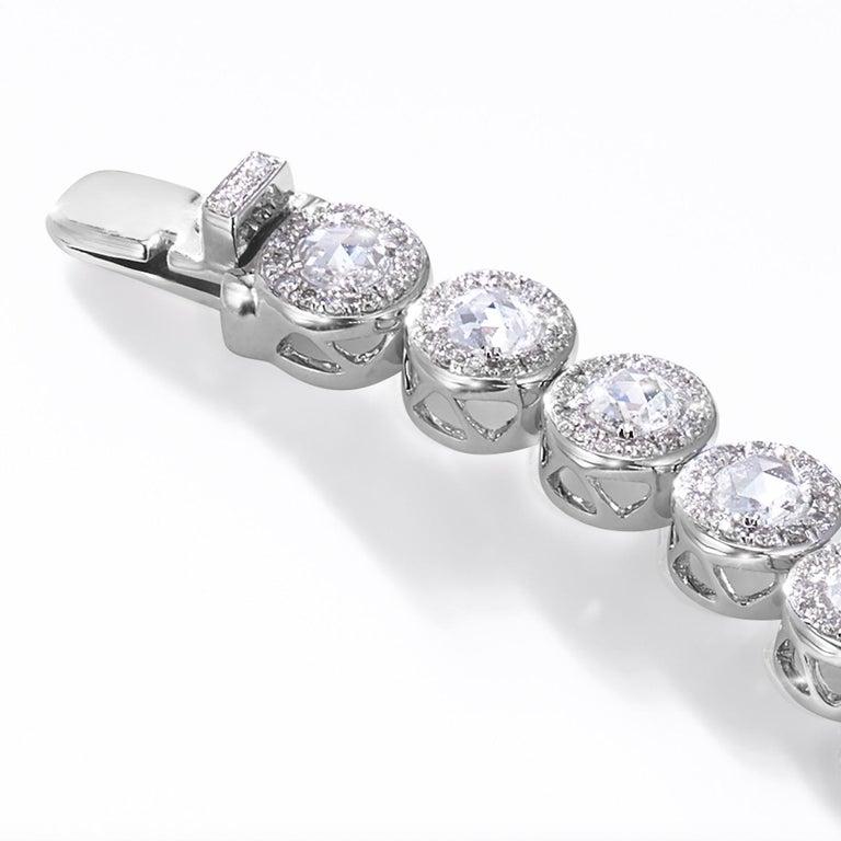 64Facets 2.90 Carat Tennis Bracelet Rose Cut Diamonds in 18 Karat White Gold For Sale 4