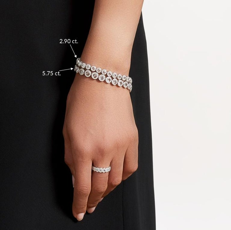 64Facets 2.90 Carat Tennis Bracelet Rose Cut Diamonds in 18 Karat White Gold In New Condition For Sale In New York, NY
