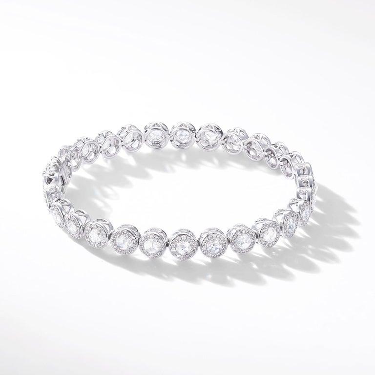Contemporary 64Facets 2.90 Carat Tennis Bracelet Rose Cut Diamonds in 18 Karat White Gold For Sale