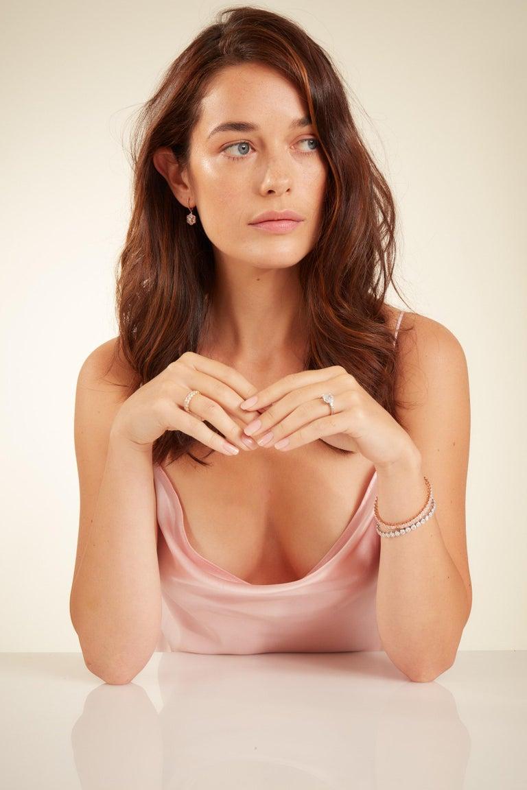 64Facets 2.90 Carat Tennis Bracelet Rose Cut Diamonds in 18 Karat White Gold For Sale 7