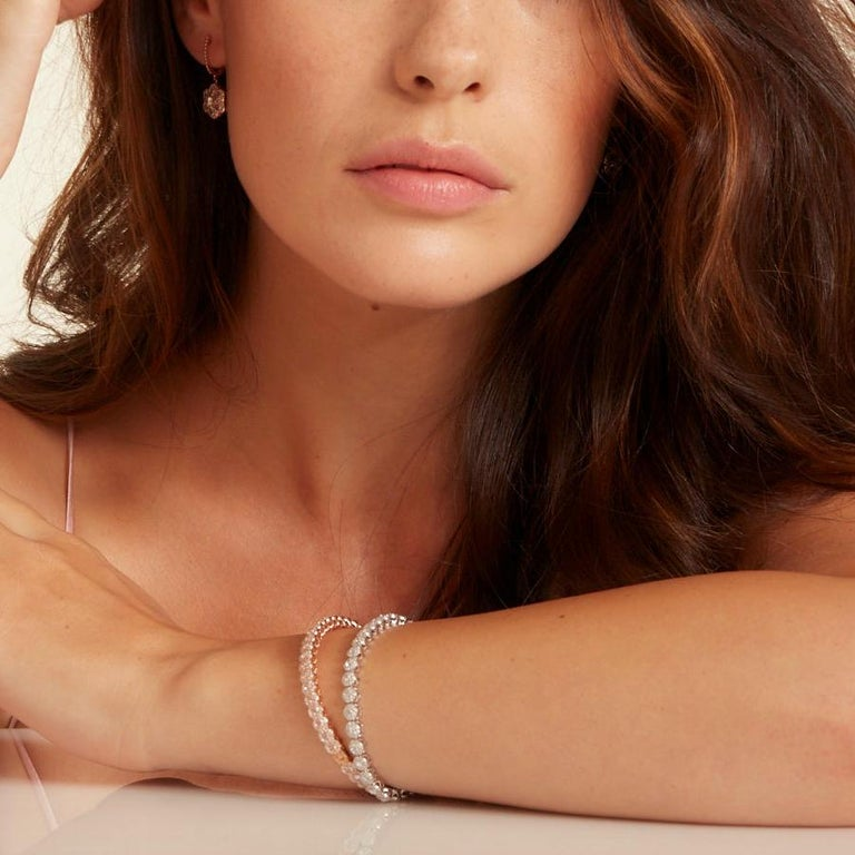 64Facets 2.90 Carat Tennis Bracelet Rose Cut Diamonds in 18 Karat White Gold For Sale 8