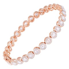 64Facets 2.90 Carat Tennis Bracelet with Rose Cut Diamonds in 18 Karat Rose Gold