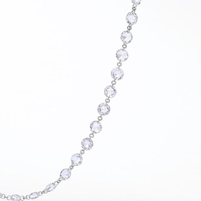 Hand cut by 64Facets' master craftsmen, round rose cut diamonds seem to float between single, barely visible platinum links, giving the chain a flowing quality.   Unlike most diamond chains, the diamonds are not encircled, but instead by using a