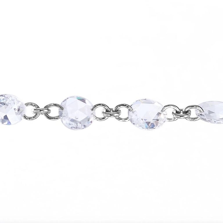 Contemporary 64Facets Rose Cut Diamond and Platinum Chain Necklace, 15 Carat For Sale