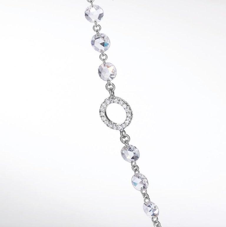 Women's or Men's 64Facets Rose Cut Diamond and Platinum Chain Necklace, 15 Carat For Sale