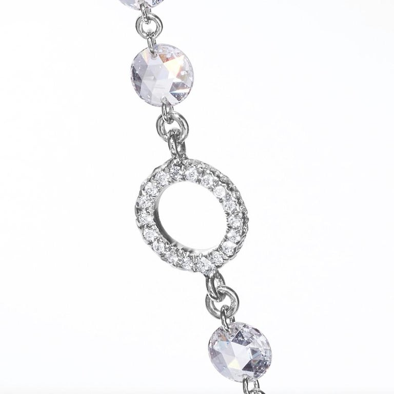 64Facets Rose Cut Diamond and Platinum Chain Necklace, 15 Carat For Sale 1