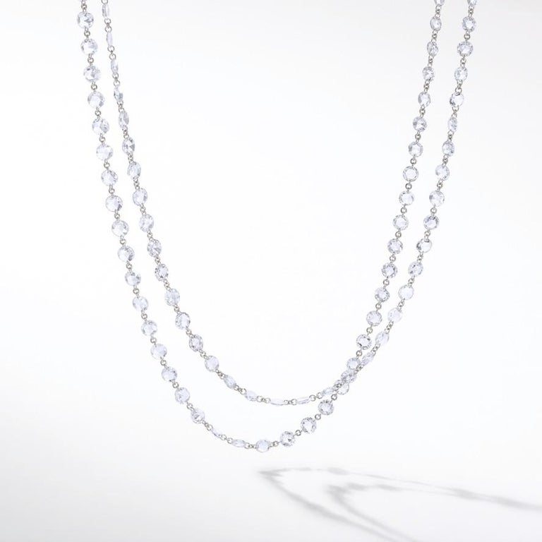 64Facets Rose Cut Diamond and Platinum Chain Necklace, 15 Carat For Sale 4