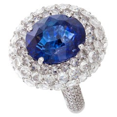 64Facets 7.94 Carat Unheated Burmese Blue Sapphire Diamond Ring in White Gold