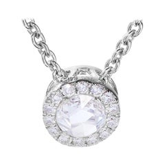 64Facets Diamond Drop Pendant, Rose Cut Diamond with Pave Accent in White Gold