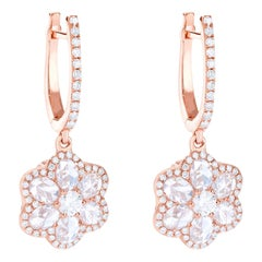 64Facets Diamond Floral Drop Earrings 1 Carat Rose Cut Diamonds in White Gold