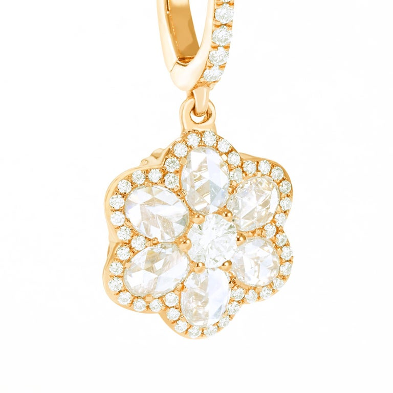 64Facets Diamond Floral Drop Earrings 1 Carat Rose Cut Diamonds in Yellow Gold For Sale 5