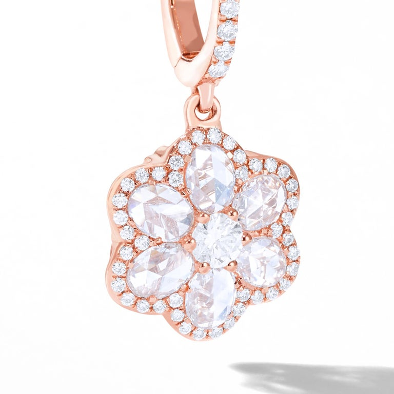 64Facets Diamond Floral Drop Earrings 1 Carat Rose Cut Diamonds in Yellow Gold For Sale 6