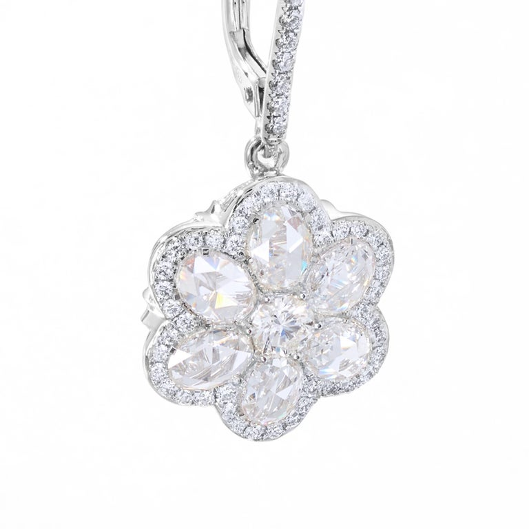 64Facets Diamond Floral Drop Earrings 1 Carat Rose Cut Diamonds in Yellow Gold For Sale 7