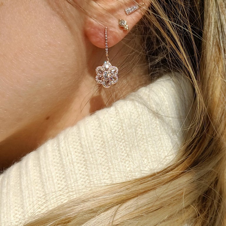 Contemporary 64Facets Diamond Floral Drop Earrings 1 Carat Rose Cut Diamonds in Yellow Gold For Sale