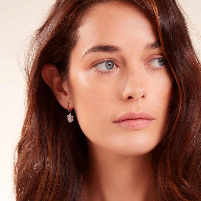 Women's or Men's 64Facets Diamond Floral Drop Earrings 1 Carat Rose Cut Diamonds in Yellow Gold For Sale