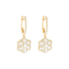 64Facets Diamond Floral Drop Earrings 1 Carat Rose Cut Diamonds in Yellow Gold