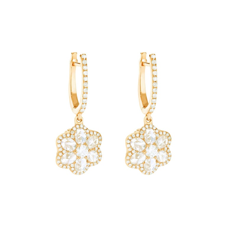 64Facets Diamond Floral Drop Earrings 1 Carat Rose Cut Diamonds in Yellow Gold For Sale