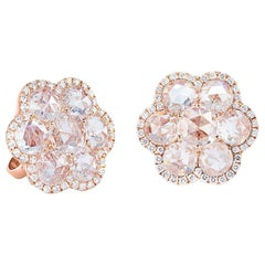 64Facets Diamond Flower Stud Earrings with Rose Cut Diamonds and 18 Karat Gold