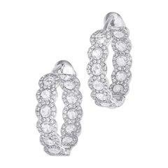 64Facets Diamond Hoop Earrings, 2.75 Carat Rose Cut Diamonds in 18K White Gold