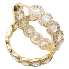 64Facets Diamond Hoop Earrings, 2.75 Carat Rose Cut Diamonds in Yellow Gold