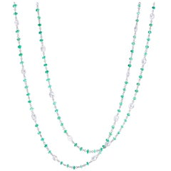 64Facets Emerald Cabochon Bead and Rose Cut Diamond Necklace in 18K White Gold