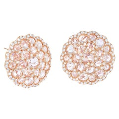 64Facets Large Shield Shape Rose Cut Diamond Cluster Stud Earrings in Rose Gold